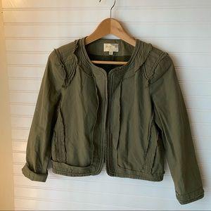 Elizabeth & James Crop Hunter Green Jacket